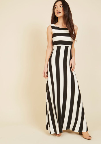 Top of the Byline Maxi Dress - Jersey, Black, White, Stripes, Casual, Maxi, Sleeveless, Scoop, Spring, Summer, Basic, Beach/Resort, Full-Size Run, Nautical, Long, Mod