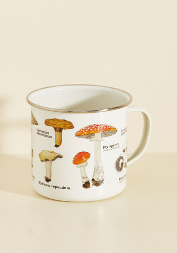 Toadstool for School Mug - Multi, Mushrooms, Good, White, Novelty Print, Top Rated, Daytime Party, Orange