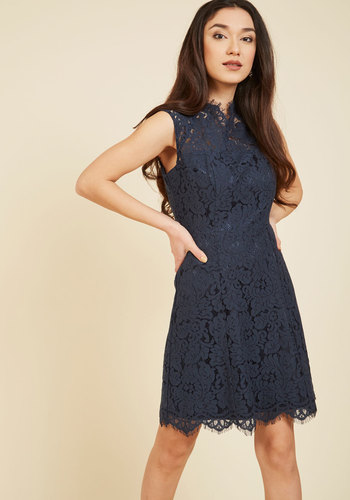 Celebrate Success Lace Dress in Navy - Blue, Solid, Party, Wedding Guest, Sheath, Sleeveless, Tulle, Better, Exclusives, Crew, Woven, Mid-length, Lace, Homecoming, Lace, Saturated, Sheer