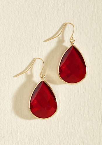 Receiving Drop Honors Earrings in Red - Valentine's, Red, Solid, Colorsplash, Wedding, Bride, Special Occasion, Under 50 Gifts, Under 25 Gifts, Holiday Gifts, Store 1