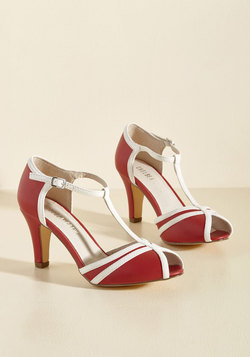 Earn Your Peep T-Strap Heel in Crimson