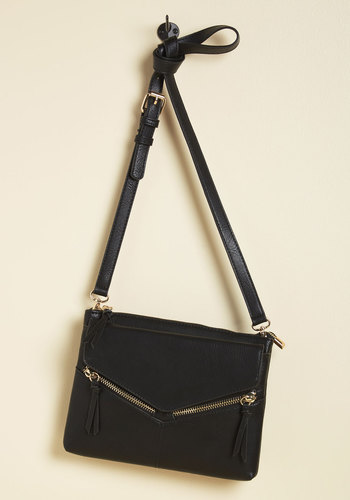 Get Ready for Greenwich Bag - Faux Leather, Black, Exposed zipper, Work, Casual, Minimal