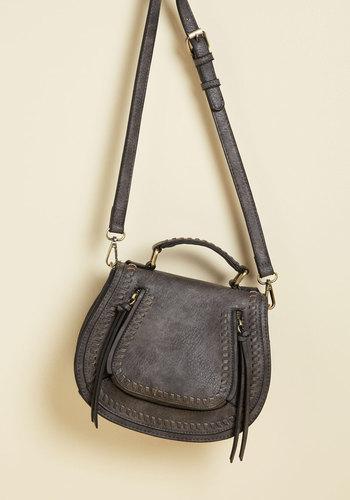 Skip on Your Shoulder Bag in Teak - Grey, Exposed zipper, Woven, Work, Casual, Winter, Good