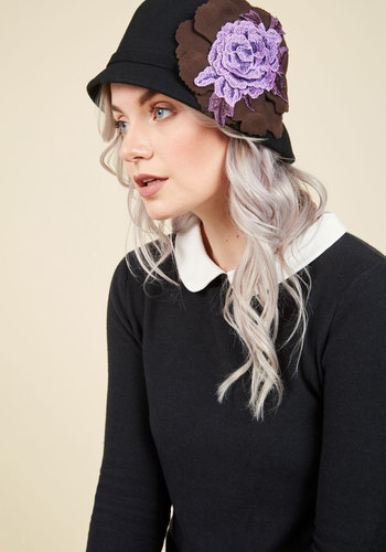 Here, There, and Every Era Hat - Black, Purple, Lavender, Solid, Flower, Winter, Better, Casual, Boho