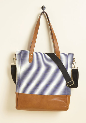 Leader of the Packed Bag - Blue, Tan / Cream, Stripes, Cotton, Woven, Travel, Work, Beach/Resort