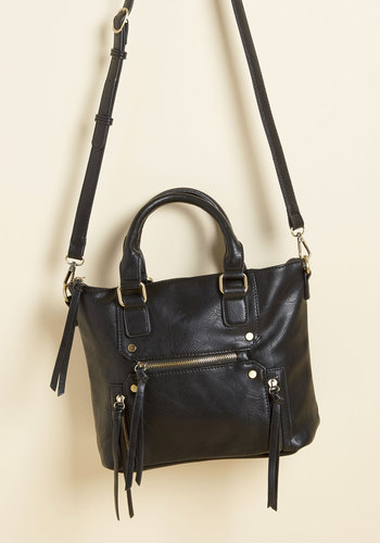 At the Carry Least Bag in Black - Black, Work, Casual, Fall, Faux Leather, Good, Solid, Variation, Urban, Minimal, Best Seller, Best Seller