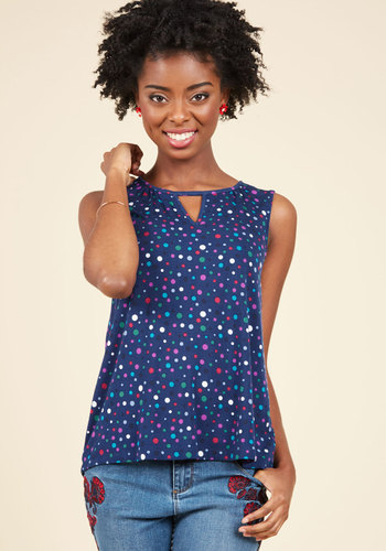 All for a Good Cosmopolitan Tank Top in Navy Dots FT1013C