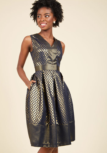 Savor the Spotlight A-Line Dress by Closet London - Woven, Gold, Blue, Polka Dots, Pockets, Special Occasion, Party, Holiday Party, Homecoming, Wedding Guest, Luxe, Statement, A-line, Sleeveless, Knee Length, V Neck