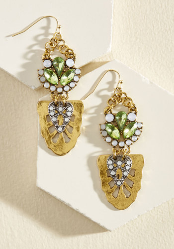 A Little Bit of Luster Earrings in Green - Multi, Bronze, Gold, Rhinestones, Prom, Party, Cocktail, Girls Night Out, Statement, Spring, Gold, Good, Antique Gold