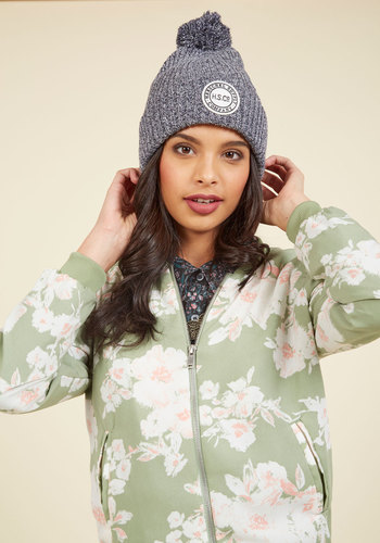 Different Slopes for Different Folks Hat in Navy by Herschel Supply Co. - Grey, Casual, Winter, Better, Tis the Season Sale, Poms, Knit