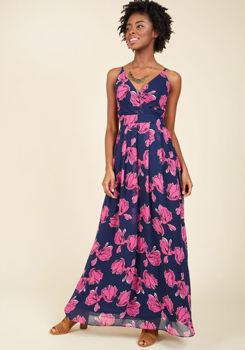 A Cordial Classic Maxi Dress - Blue, Pink, Floral, Casual, Daytime Party, Boho, Maxi, Shift, Sleeveless, Spring, Summer, Fall, Winter, Woven, Exceptional, Exclusives, Long