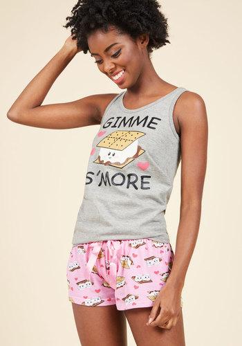 Make Your Presence Melt Pajamas - Knit, Grey, Pink, Novelty Print, Lounge, Food, Sayings, Sleeveless, Spring, Summer, Fall, Winter, Good, Multi, Saturated