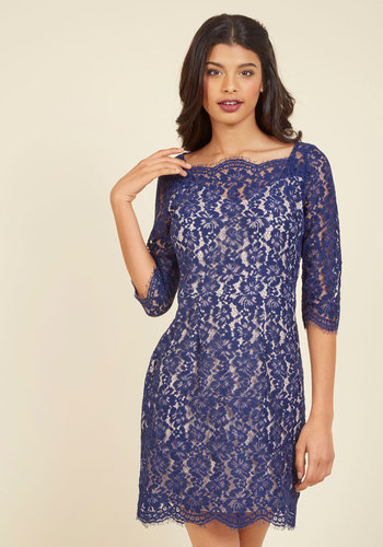 Vogue in Vienna Lace Dress in Sapphire - Knit, Mid-length, Blue, Tan / Cream, Lace, Special Occasion, Cocktail, Homecoming, Wedding Guest, 3/4 Sleeve, Scoop, Lace, Tis the Season Sale