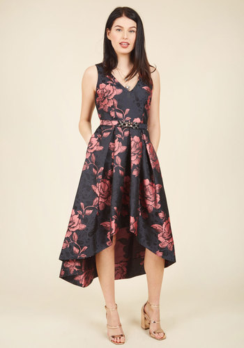 Delightful Drama Floral Dress in Midnight Garden by Eliza J - Luxe Gifts, Woven, Red, Black, Floral, Print, Pleats, Pockets, Rhinestones, Belted, Special Occasion, Prom, Party, Cocktail, Holiday Party, Graduation, Homecoming, Wedding Guest, Vintage Inspired, 50s, Luxe, Statement, A-line, High-Low Hem, Fit & Flare, Sleeveless, Fall, Winter, Mid-length, Tea, Exceptional, V Neck