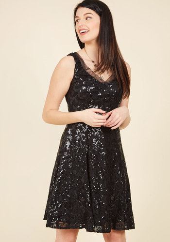 Faithfully Formal Sequin Dress - Knit, Black, Sequins, Special Occasion, Prom, Holiday Party, Homecoming, Luxe, LBD, A-line, Sleeveless, V Neck