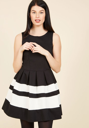 A Dreamboat Come True A-Line Dress in Black by Closet London - Black, White, Solid, Stripes, Fit & Flare, Sleeveless, Fall, Winter, Woven, Best