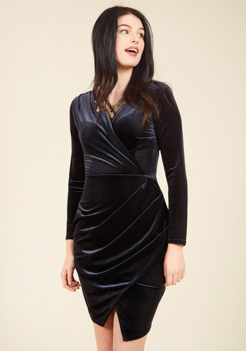 Silver Screen Dreams Velvet Dress by Closet London - Velvet, Black, Solid, Special Occasion, Party, Cocktail, Girls Night Out, Holiday Party, Homecoming, Wedding Guest, Vintage Inspired, 80s, Luxe, Statement, Wrap, Long Sleeve, Fall, Winter, Knee Length, Exceptional, V Neck, LBD