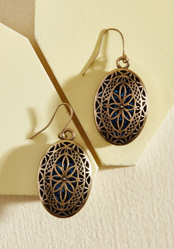 Once Hidden Earrings - Gold, Party, Work, Cocktail, Vintage Inspired, Winter, Gold, Good, Bronze