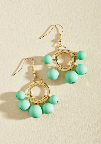 Burst Your Bauble Earrings in Aqua - Gold, Mint, Party, Cocktail, Winter, Gold, Good, Beach/Resort