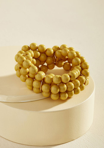 1960s Costume Jewelry – 1960s Style Jewelry Burst Your Bauble Bracelet in Mustard $14.99 AT vintagedancer.com