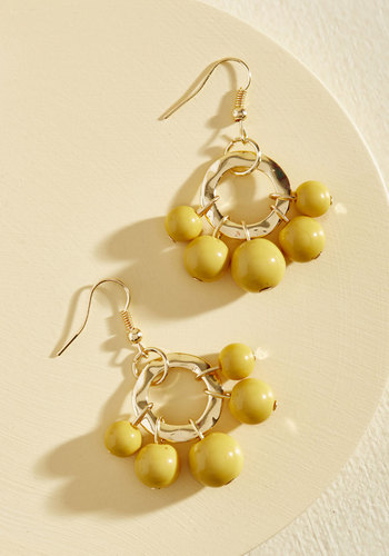 1960s Costume Jewelry – 1960s Style Jewelry Burst Your Bauble Earrings in Mustard $14.99 AT vintagedancer.com