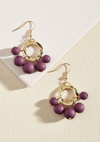 Burst Your Bauble Earrings in Grape - Red, Gold, Beads, Party, Holiday, Holiday Party, Statement, Winter, Gold, Good