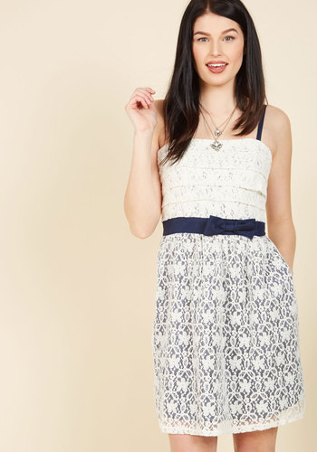 Fanciness Found Lace Dress - Mid-length, White, Blue, Bows, Lace, Pockets, Tiered, Party, Mini, Sleeveless, Spaghetti Straps, Short, Lace
