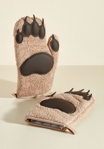 Cub on By Oven Mitts by Fred - Quirky, Good, Brown, Critters, Top Rated, Unisex Gifts, Under 25 Gifts, Unique Gifts, Hostess