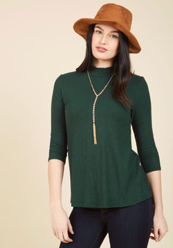 Curious Commentary Knit Top in Pine