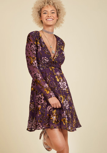 From the Flaunt to the Back Velvet Dress by Pink Martini - Purple, Pink, Floral, Print, Daytime Party, A-line, Long Sleeve, Fall, Winter, Woven, Velvet, Exceptional, Mid-length