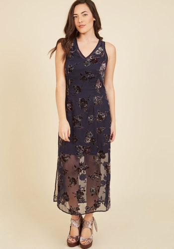 Until All Flowers Maxi Dress - Long, Blue, Multi, Floral, Lace, Special Occasion, Prom, Party, Cocktail, Homecoming, Wedding Guest, Vintage Inspired, 90s, Maxi, Tank top (2 thick straps), Fall, Winter, Chiffon, Woven, Better, V Neck
