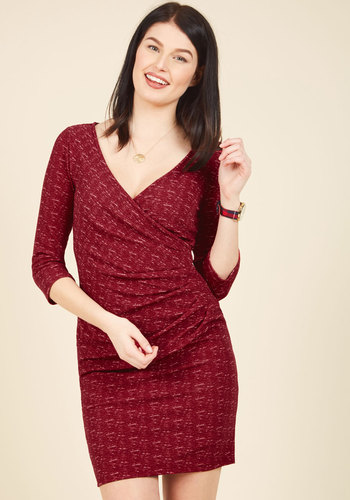 Savoir Faire Splendor Wrap Dress in Cranberry - Red, Print, Work, A-line, Wrap, 3/4 Sleeve, Fall, Winter, Knit, Better, Exclusives, Private Label, Mid-length