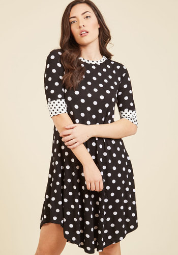Eclectic Edits Shift Dress - Black, White, Polka Dots, Print, Work, Pinup, Vintage Inspired, 50s, 60s, Shift, 3/4 Sleeve, Spring, Summer, Fall, Winter, Knit, Good, Long, Casual