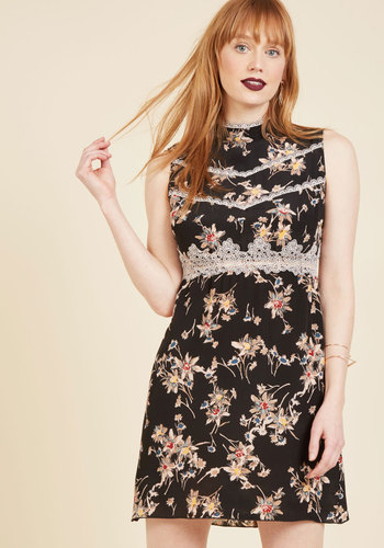 Indie Elegance Mini Dress by Anna Sui - Black, Multi, Floral, Print, Trim, Special Occasion, Party, Cocktail, Daytime Party, Vintage Inspired, A-line, Mini, Sleeveless, Fall, Winter, Short, Woven, Exceptional, Mockneck, Girls Night Out