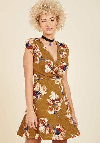 Come What Latte Mini Dress - Gold, Multi, Floral, Work, Casual, Boho, Fall, Winter, Woven, Good, Blue, Brown, Tan / Cream, Print, A-line, Cap Sleeves, Short, V Neck