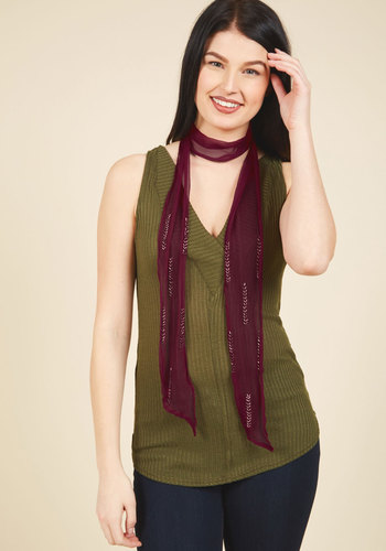 Luxe Is a Must Scarf - Red, Chevron, Beads, Casual, Winter, Sheer, Good, Holiday