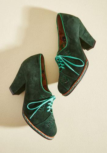 1930s Style Shoes Retro Roamer Suede Heel $164.99 AT vintagedancer.com