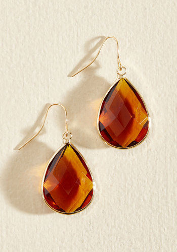 Receiving Drop Honors Earrings in Honey - Yellow, Special Occasion, Work, Fall, Gold, Good, Solid, Variation, Party, Best Seller, Best Seller