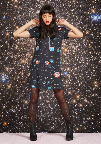 Planetarium Parade Babydoll Dress by ModCloth - Black, Novelty Print, Print, Work, Casual, Nifty Nerd, Cosmic, A-line, Shirt Dress, Long Sleeve, Fall, Winter, Woven, Best, Exclusives, Private Label, Cosmic Gifts, Under 100 Gifts, Unique Gifts, Mid-length, ModCloth Label, Party