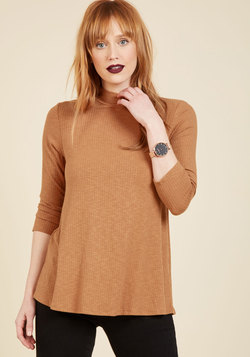 Curious Commentary Knit Top in Caramel