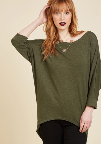 Sports Rapport Top in Olive - Green, Solid, Casual, Long Sleeve, Fall, Green, Long Sleeve, Scoop, Mid-length, Lounge