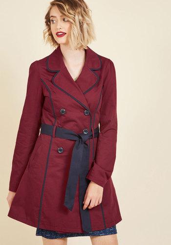 Retro Vintage Style Coats, Jackets, Fur Stoles East Coast Tour Trench in Burgundy $99.99 AT vintagedancer.com