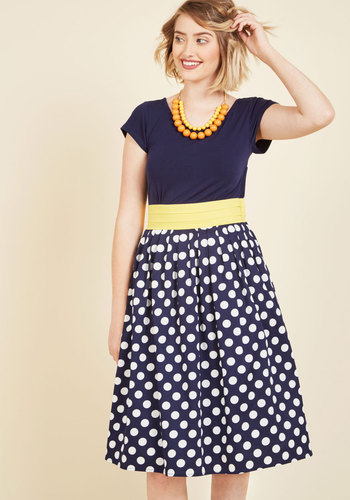 Charm for the Choosing A-Line Dress - Blue, Yellow, Polka Dots, Print, Work, Casual, A-line, Twofer, Short Sleeves, Spring, Summer, Fall, Winter, Knit, Woven, Better, Exclusives, Long