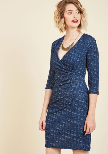 Savoir Faire Splendor Wrap Dress in Blueberry - Blue, Print, Work, A-line, Wrap, 3/4 Sleeve, Fall, Winter, Knit, Better, Exclusives, Private Label, Mid-length