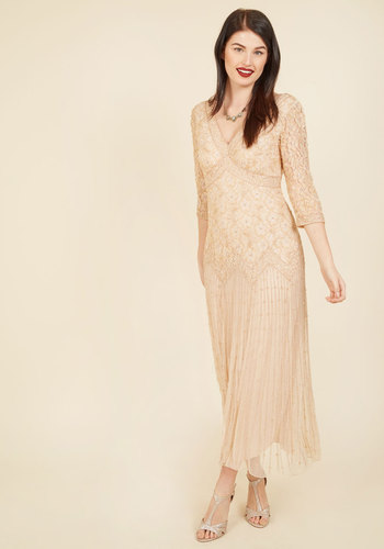 1920s Formal Dresses Guide To Have and to Haute Maxi Dress in Champagne - 34 Sleeves $299.99 AT vintagedancer.com