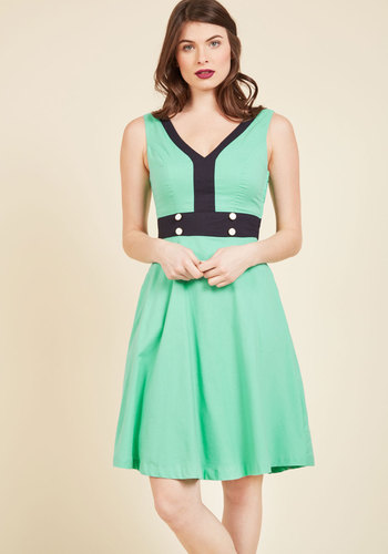 Peppy, Set, Go! A-Line Dress by ModCloth - Green, Solid, Work, A-line, Sleeveless, Summer, Best, Colorblocking, Exclusives, Private Label, Long, Casual, Sundress, Vintage Inspired, ModCloth Label