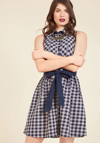Glam Guest Columnist Shirt Dress - Blue, Checkered / Gingham, Print, Work, Casual, Daytime Party, Vintage Inspired, 50s, Americana, Shirt Dress, Fit & Flare, Sleeveless, Spring, Summer, Woven, Better, Exclusives, Mid-length