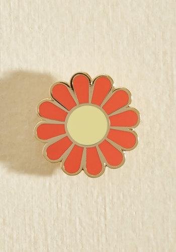 Flower Play Enamel Pin - Orange, Gold, Flower, Casual, Daytime Party, Winter, Good
