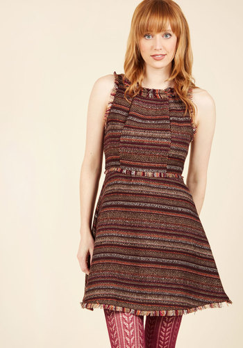 Weave Me Hanging A-Line Dress - Brown, Multi, Stripes, Work, Casual, Boho, Sleeveless, Fall, Winter, Cotton, Woven, Mid-length, Red, Orange, Pink, Tan / Cream, Print, A-line, Better