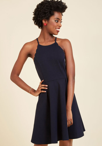 In Charming Company A-Line Dress - Blue, Solid, Work, Casual, Holiday Party, Daytime Party, Fit & Flare, Sleeveless, Spring, Summer, Fall, Winter, Good, Knit, Mid-length, Party, Girls Night Out